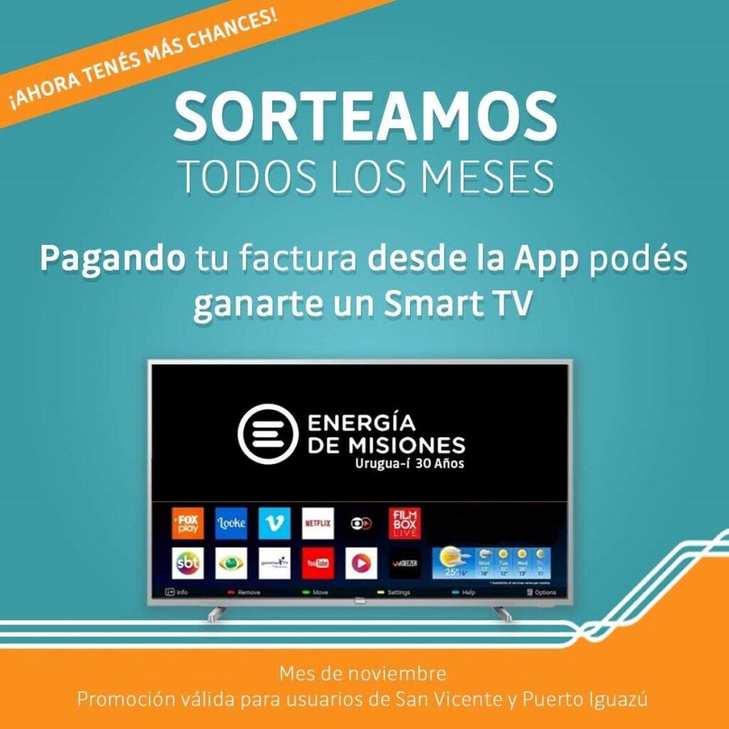 EnergíadeMisionesは、アプリを介して支払うユーザーのために、毎月スマートTVをラフリングします
