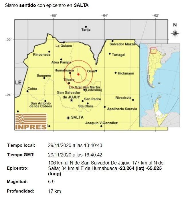 Fuerte sismo se sintió pasado el mediodía en el límite entre las provincias de Salta y Jujuy