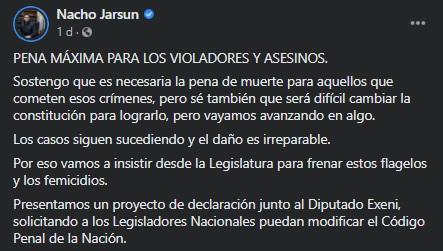 La publicación que impulsa el proyecto del legislador. (Foto: Facebook Nacho Jarsún)