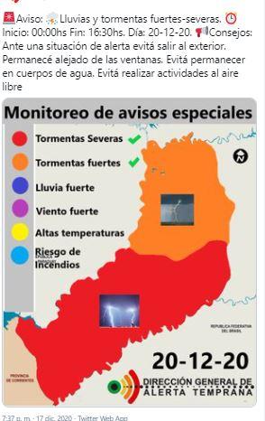 Emiten una doble alerta meteorológica para Misiones