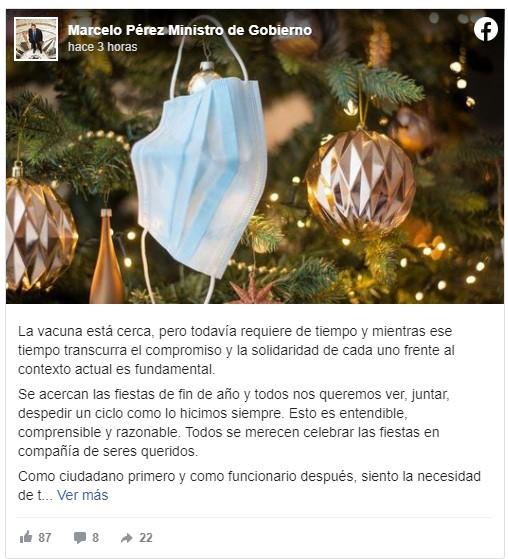 Coronavirus en Misiones: el Ministro de Gobierno Marcelo Pérez apeló a la solidaridad ciudadana para seguir cuidándonos durante estas fiestas