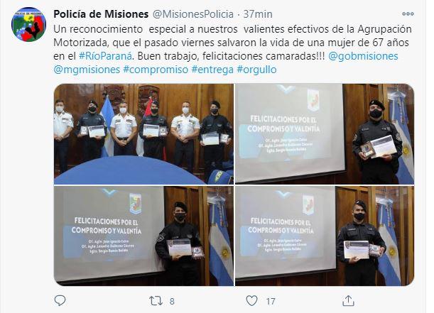 La Policía de Misiones reconoció a los efectivos que salvaron a una mujer en el Río Paraná