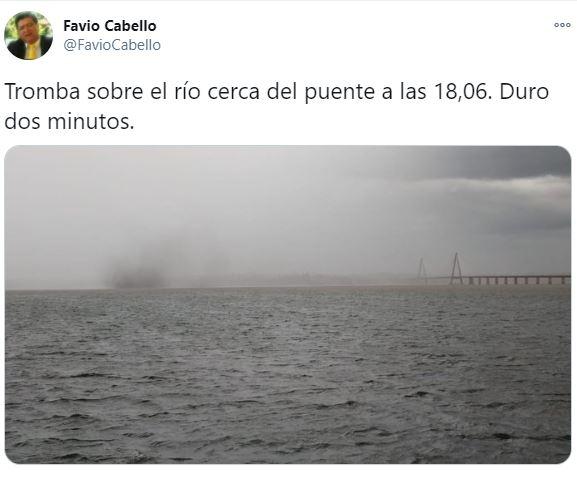 Registraron una tornado sobre el río Paraná cerca del puente que une Posadas con Encarnación