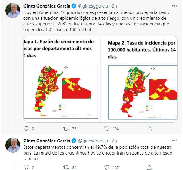 """Coronavirus Aumento de casos: """"La mitad de los argentinos vive en zonas de alto riesgo"""", advirtió Ginés"""