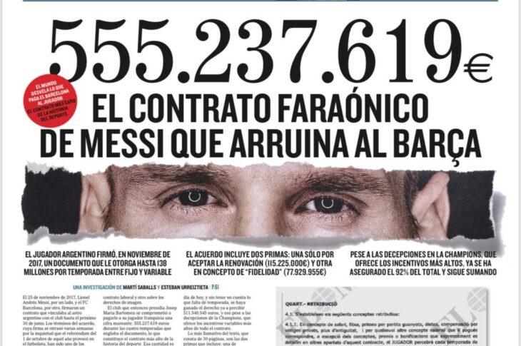 """El contrato de Lionel Messi: diario español reveló """"el acuerdo faraónico que arruina a Barcelona"""""""