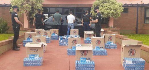San Vicente: la Policía incautó un auto cargado con 750 gruesas de cigarrillos