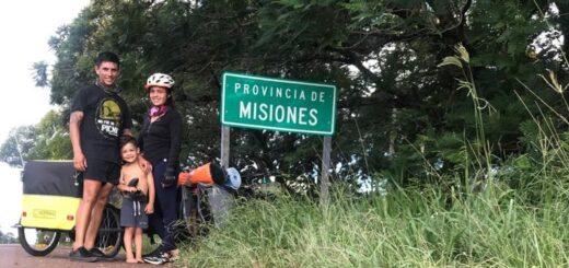 Una pareja misionera y su hijo de 4 años pedalearon 1000 kilómetros para visitar a su familia en Misiones