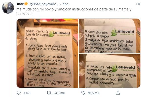 Viral en redes: se fue a vivir con su novio y su suegra le mandó una lista de cómo tratarlo
