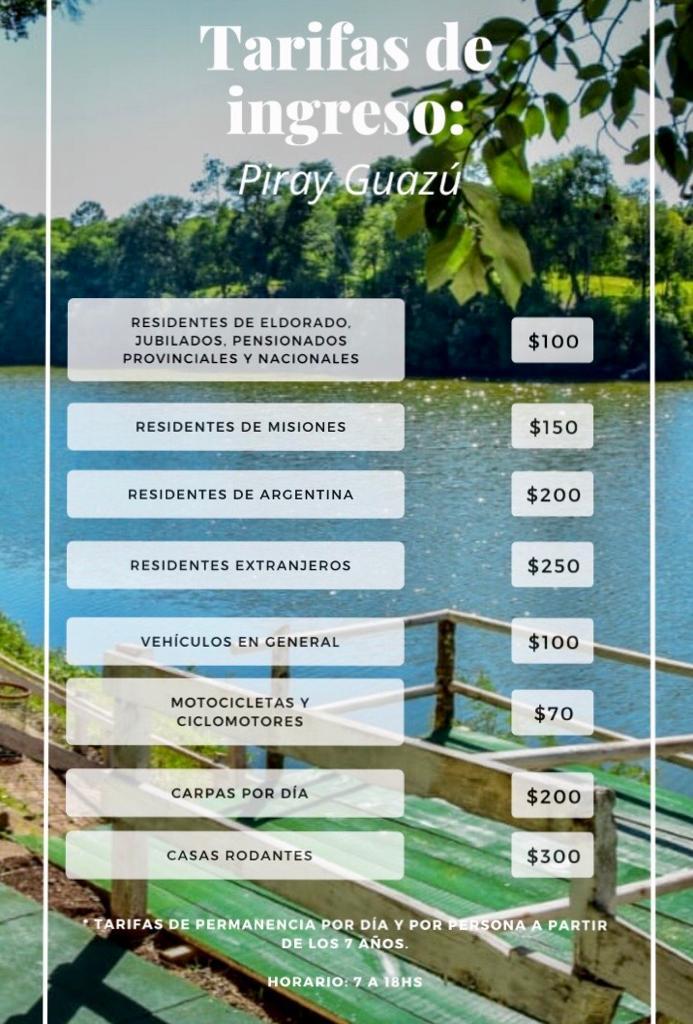Eldorado: hay servicio de transporte local los fines de semana y feriados hasta el Balneario Piray Guazú