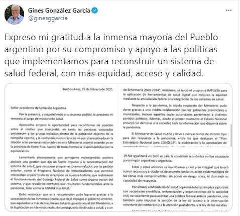 """""""Fue un malentendido"""": Ginés González García rompió el silencio tras el escándalo de las vacunas"""