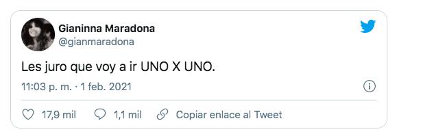 """La advertencia de Gianinna Maradona: """"Voy a ir uno por uno"""""""