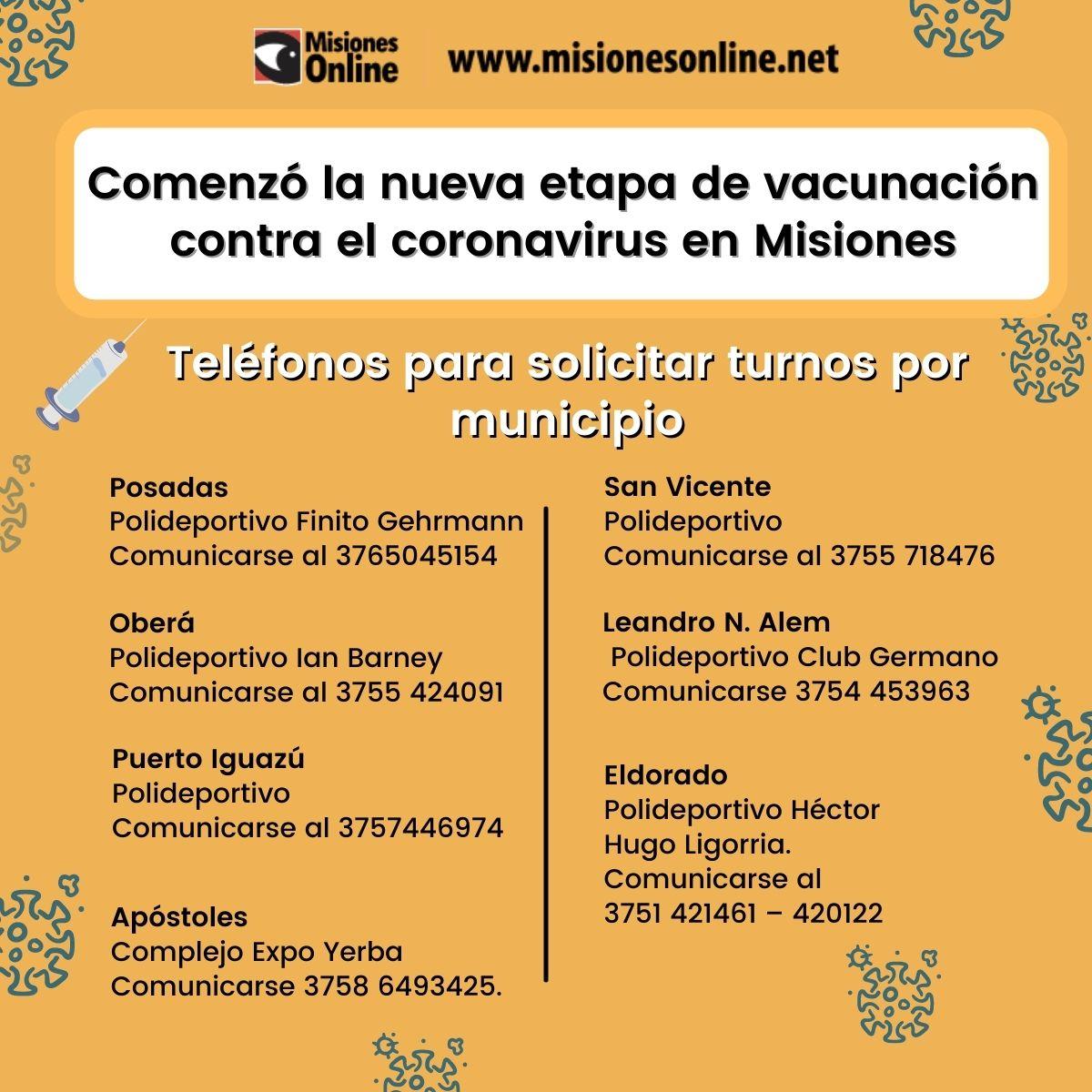 Vacunación en Misiones: las líneas telefónicas habilitadas de turnos solamente son para mayores de 75 años