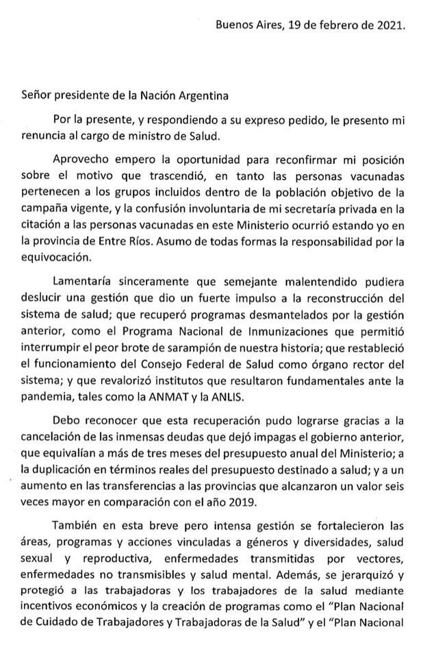 El periodista Horacio Verbitsky contó que se vacunó en el Ministerio de Salud y desató el escándalo: renunció Ginés y asume Carla Vizzotti