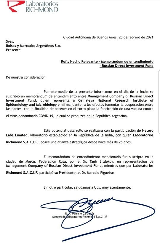Coronavirus: producirán en Argentina la vacuna de origen ruso Sputnik V