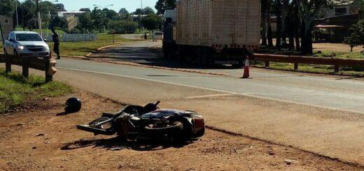 Motociclista falleció al colisionar con un camión sobre la ruta 14 en San Vicente