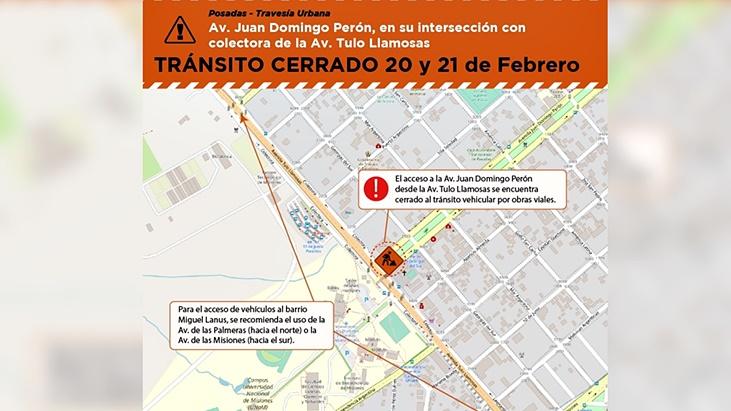 Vialidad Provincial informó que este fin de semana permanecerá cortada la intersección Av. Perón y Av. Tulo Llamosas de Posadas