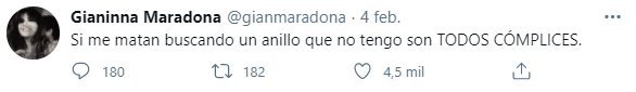 "Gianinna Maradona tras ser acusada de quedarse con un anillo de Diego: ""Son todos cómplices"""