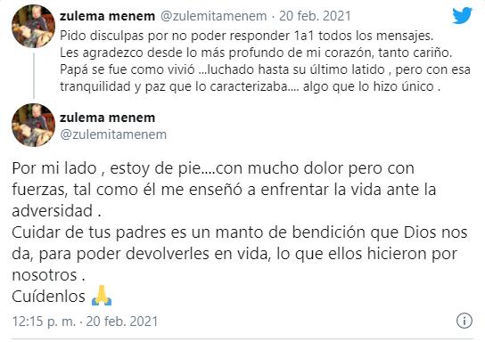 El mensaje de Zulemita tras la muerte de Carlos Menem