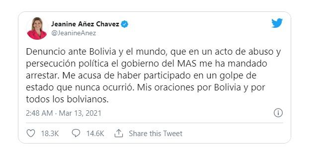 元事実上の大統領ヘアニネアニェスはラパスで逮捕され、2019年にエボモラレスに対するクーデターを証言します