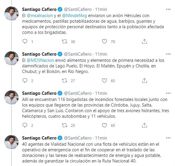 Incendios forestales: Santiago Cafiero detalló cuáles son las medidas que tomará el Gobierno nacional en Chubut
