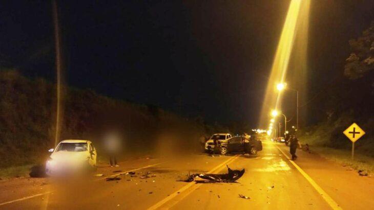 Choque entre cuatro autos en la ruta 14 en Oberá solo causó daños materiales
