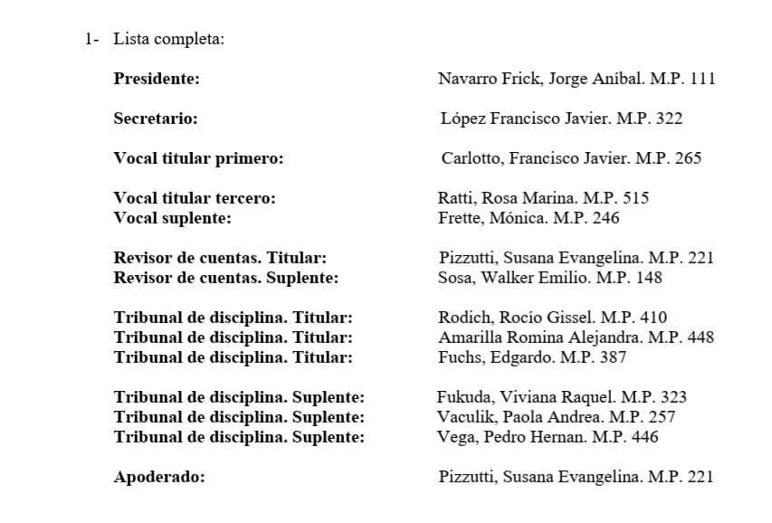 Lista de candidatos para las elecciones del colegio de Kinesiología