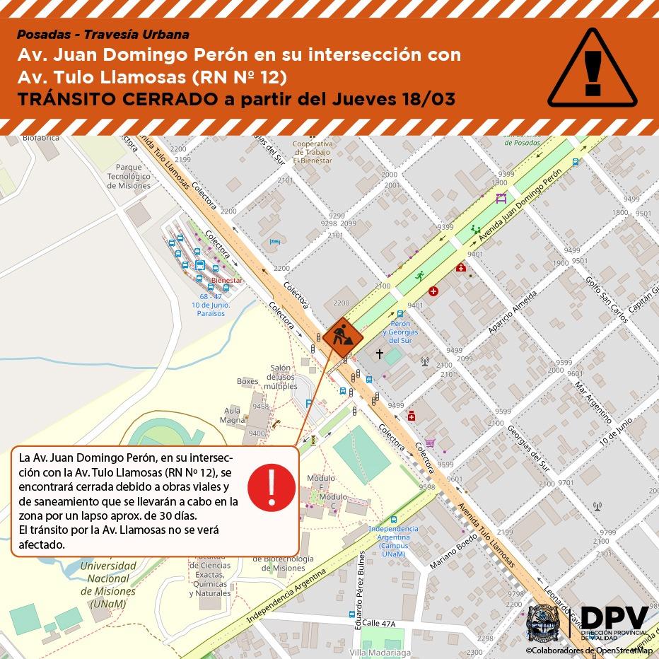 Obras en Posadas: tránsito cerrado a partir del jueves