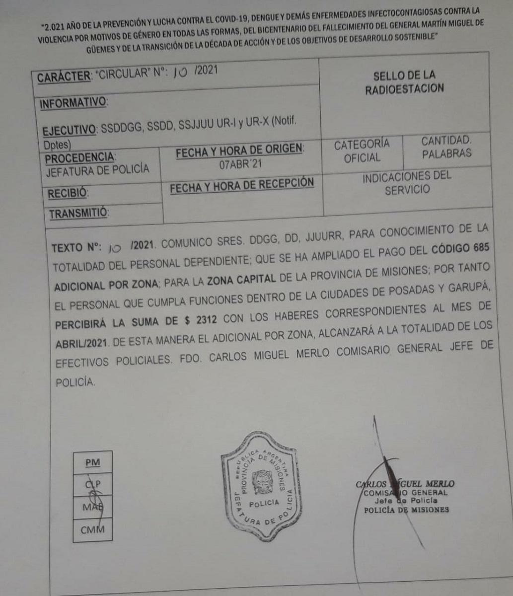También cobrarán un adicional por zona desfavorable los efectivos de la Policía de Misiones que prestan servicios en Posadas y Garupá