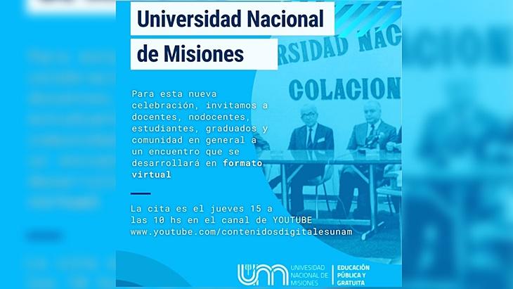 La Universidad Nacional de Misiones celebrará su aniversario n°48 con un evento virtual