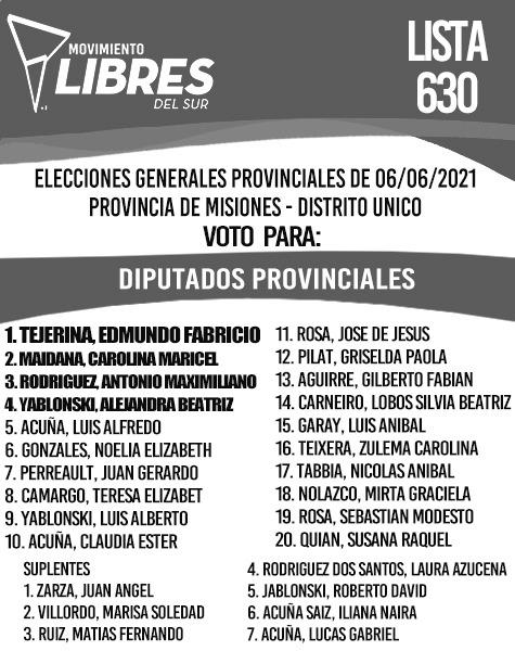 El Movimiento Libres del Sur Misiones tuvo que corregir su lista de candidatos a diputados provinciales porque no tenía paridad de género: 17 mujeres y tres varones