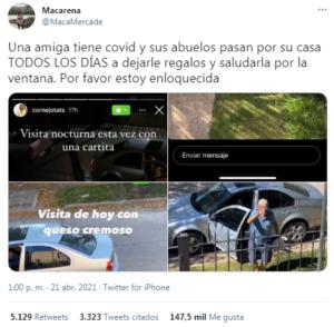 Viral: estuvo aislada con covid y su abuelo la visitó cada día desde la vereda