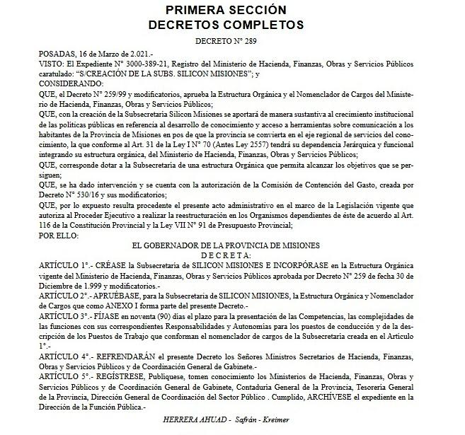 Por decreto, el gobierno provincial creó la subsecretaría Silicon Misiones que funcionará bajo la órbita del ministerio de Hacienda