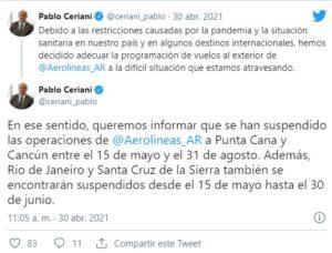 Aerolíneas Argentinas suspende vuelos a Brasil, Bolivia y México