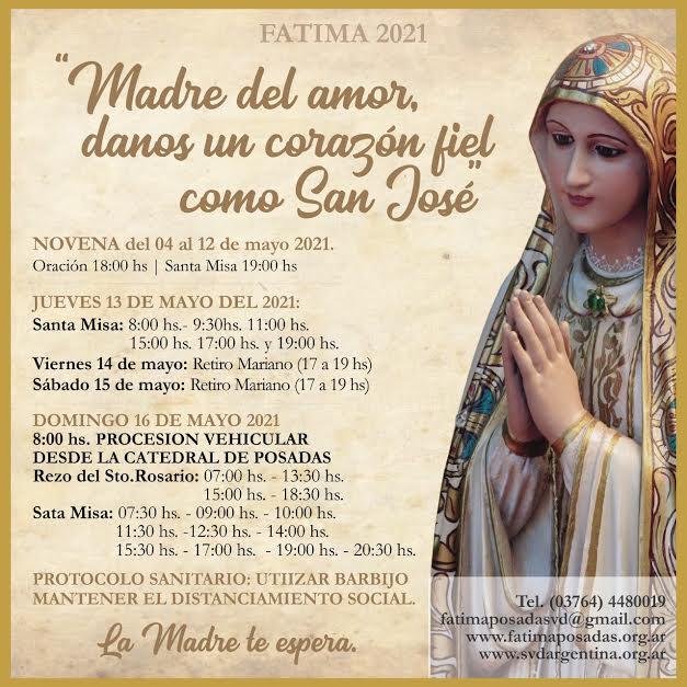 """Con el lema """"Madre del amor danos un corazón fiel como el de José"""" este martes inicia la novena a la Virgen de Fátima"""