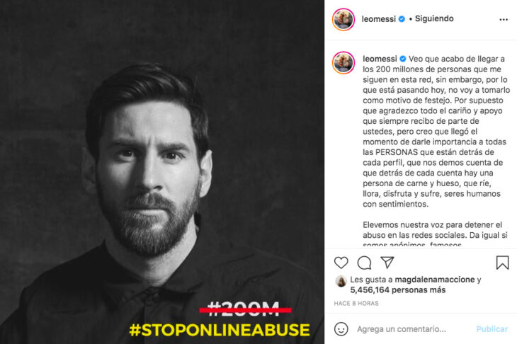 """Messi tras alcanzar 200 millones de seguidores: """"Elevemos nuestra voz para detener el abuso en redes sociales"""""""