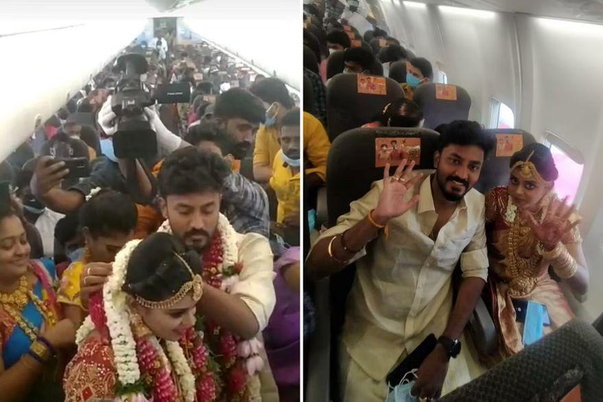 India: se casaron en un vuelo con 161 invitados para evadir las restricciones por Covid