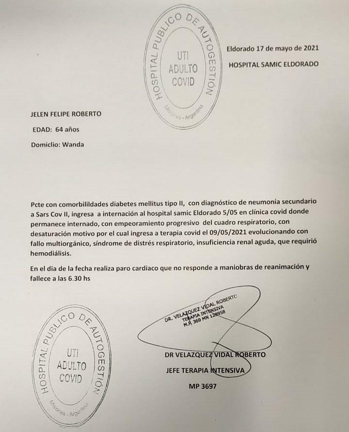 Falleció el intendente de Wanda, Felipe Jeleñ: tenía coronavirus y estaba internado hacía varios días