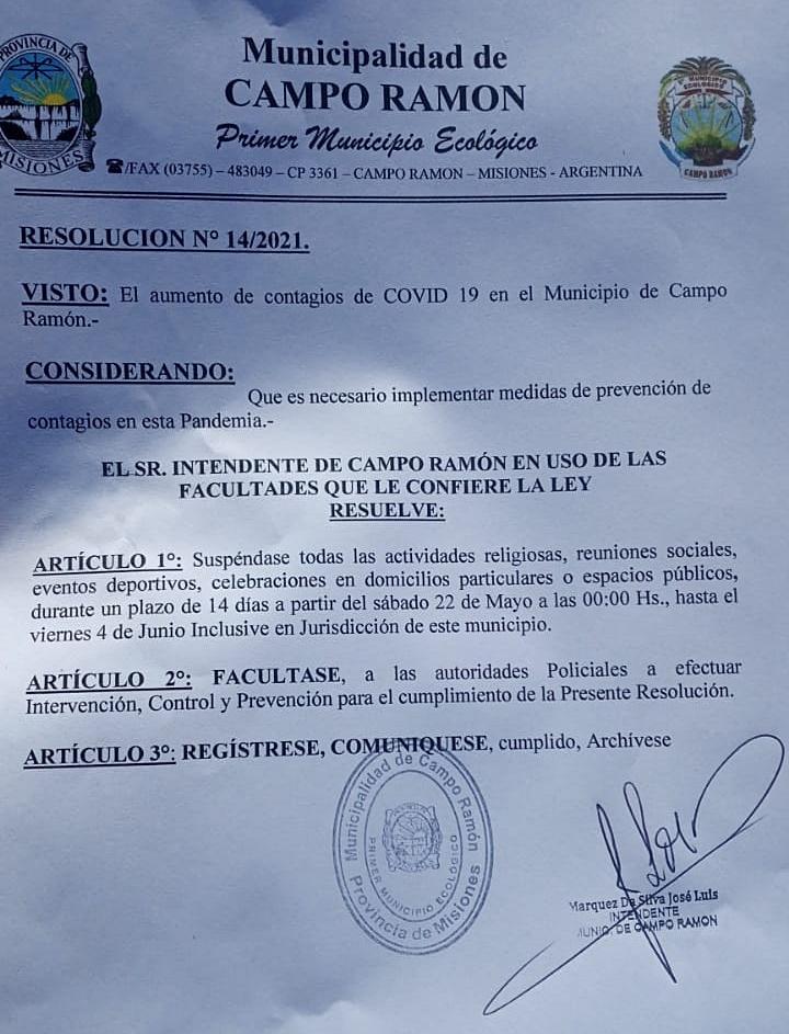 En Campo Ramón suspenden actividades deportivas y reuniones de todo tipo para frenar el Covid-19