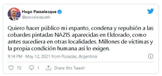 Hugo Passalacqua repudió las pintadas nazis que aparecieron en Eldorado
