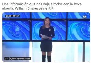Una periodista de Canal 26 creyó que estaba vivo el escritor William Shakespeare y anunció su muerte