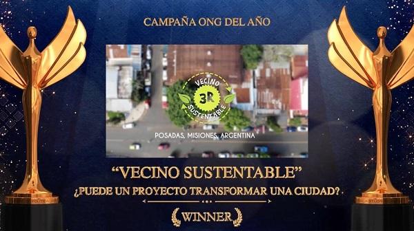 """Vecino Sustentable fue reconocida como """"ONG del Año 2020"""" en certamen de comunicación en Estados Unidos"""
