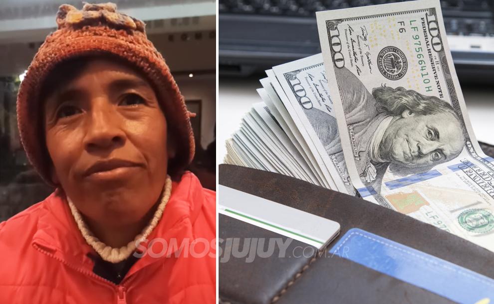 vendedora ambulante encontró una billetera con dólares