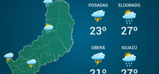 El tiempo en Misiones: mitad de semana con abundantes lluvias y temperaturas mínimas de 15°C