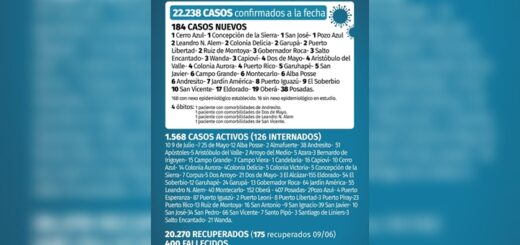 Coronavirus en Misiones: 184 nuevos casos y 4 fallecidos en las últimas 24 horas