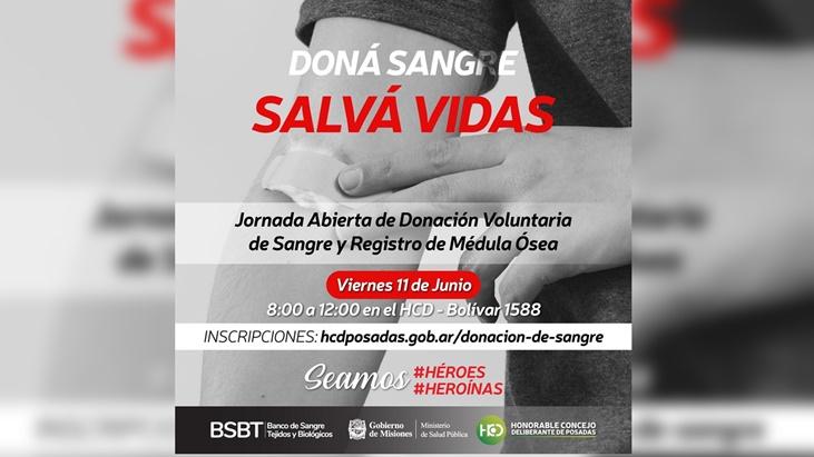 Desde el Concejo Deliberante de Posadas invitan a participar de una jornada de donación de sangre