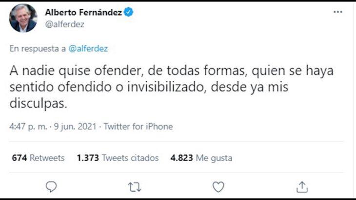 """""""A nadie quise ofender, de todas formas, quien se haya sentido ofendido o invisibilizado, desde ya mis disculpas"""", manifestó Alberto Fernández luego de su polémica frase"""