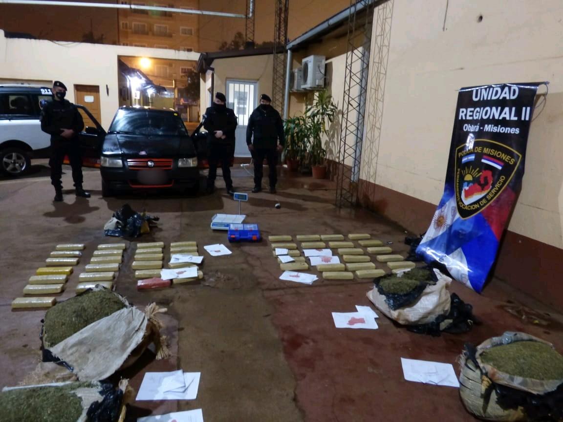 Interceptaron un auto repleto de marihuana en Oberá