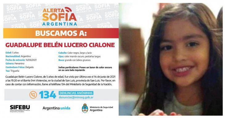 nena de 5 años desaparecida en San Luis