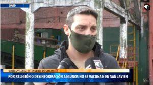 """En San Javier """"algunos vecinos no se vacunan por cuestiones religiosas o desinformación"""", advirtió el intendente Vilchez"""