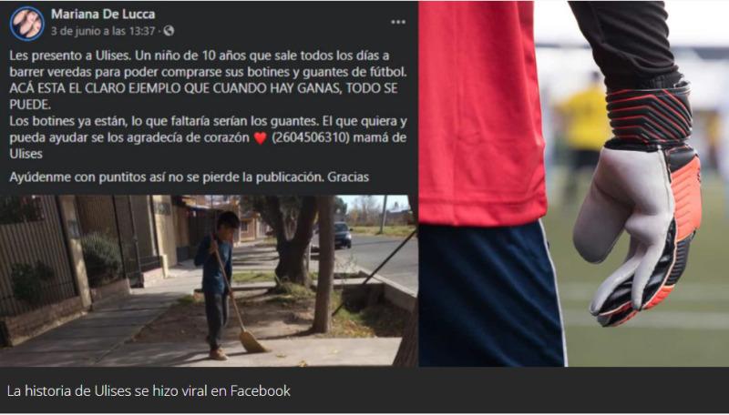 Mendoza: tiene 10 años y barre las veredas del barrio para comprarse guantes de fútbol y botines
